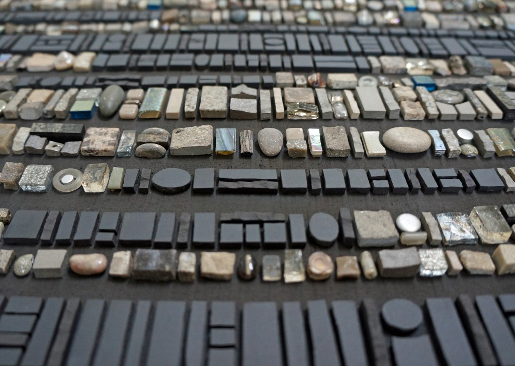 Sonia King, Coded Message: Dark Secret - detail, 2014, Glass, ceramic, shells, golds, smalti, bone, fossils, pebbles, aluminum, laminate, pearls, coral and abalone applied without visible adhesive on to a hand-formed substrate