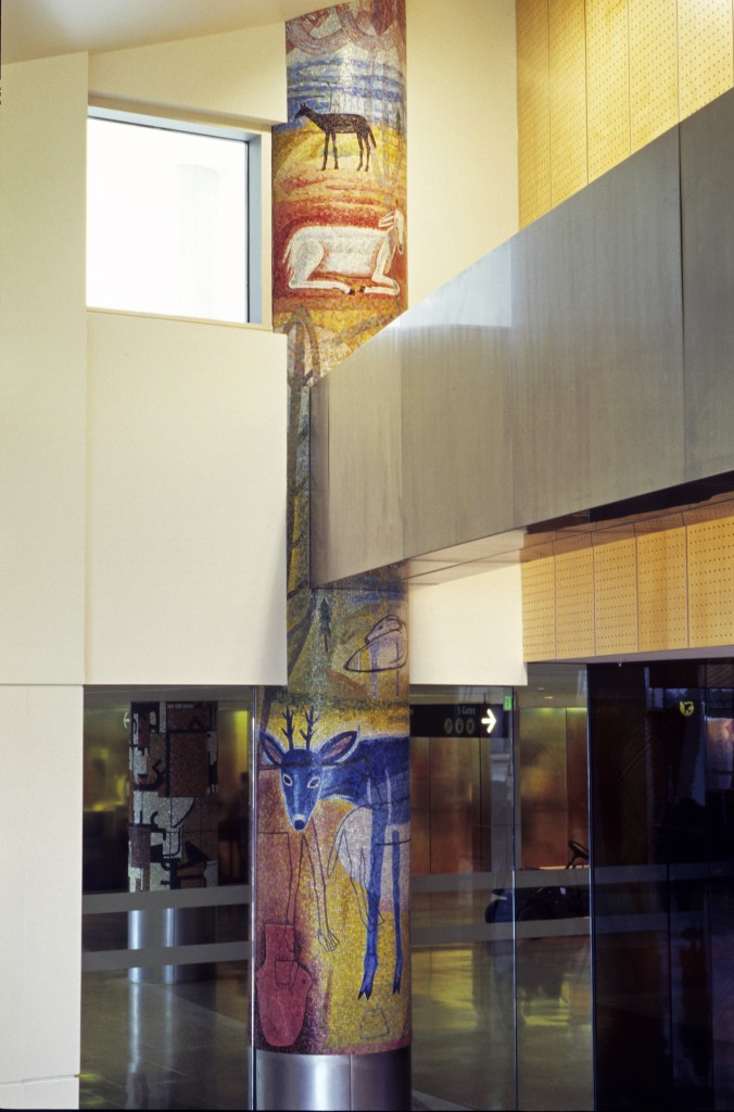 Mosaic Column at Sea-Tac Airport by Joanne Hammer, fabricated by Miotto Mosaics. 2004, smalti