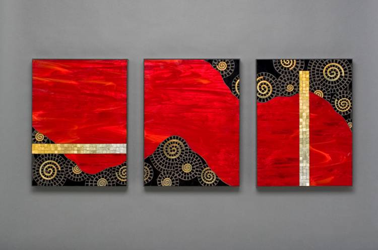 Red BorealisTriptych by Luz Mack-Durini